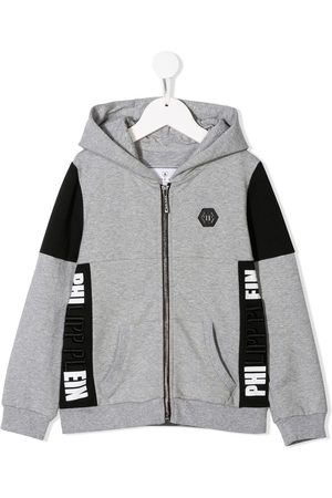 Philipp Plein Statement logo zip front hoodie