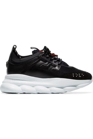 VERSACE And white Chain Reaction suede trim sneakers