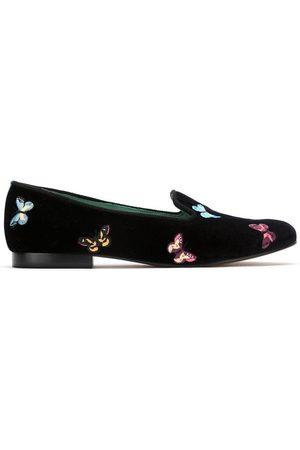 Blue Bird Velvet Borboleta loafers