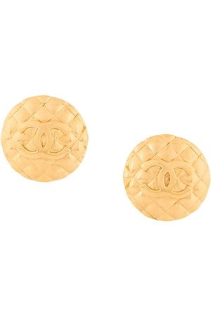 CHANEL CC logo round clip-on earrings