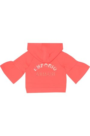 Emporio Armani Embroidered cotton-blend hoodie