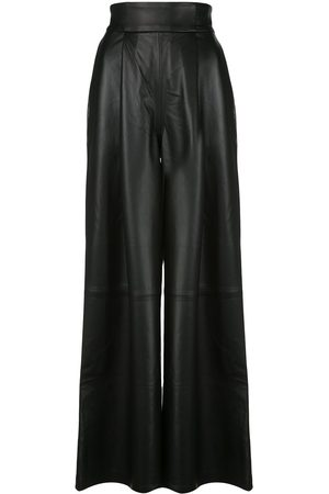 Skiim Women Leather Pants - Amanda leather wide leg trousers