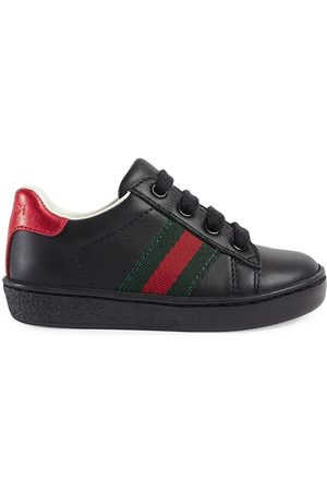 Gucci Leather low-top sneakers with Web