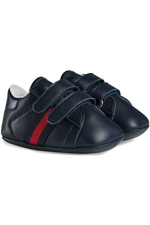 Gucci Baby Sneakers - Baby leather sneaker with Web