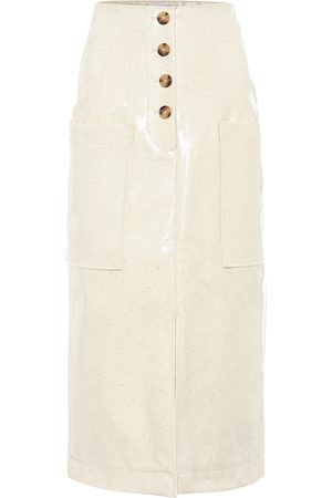 REJINA PYO Carmen laminated wool midi skirt