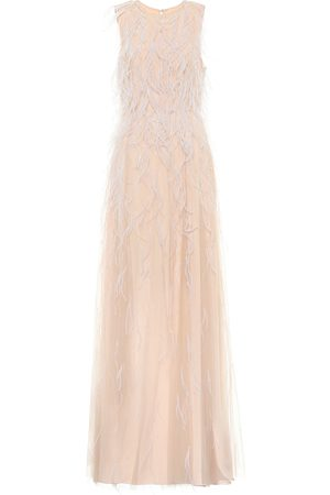 Max Mara Berg feather-trimmed tulle gown