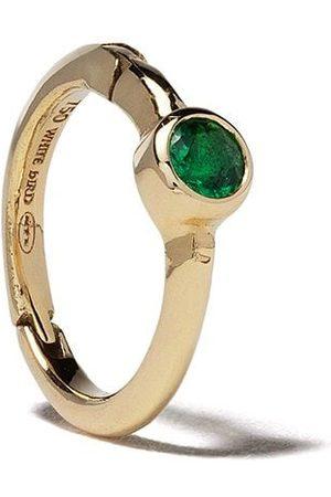 White Bird 18kt emerald Justine hoop single earring
