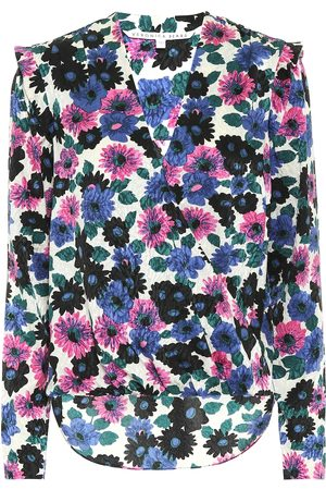 VERONICA BEARD Floral stretch-silk top