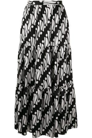ANDREW GN Geometric flared maxi skirt