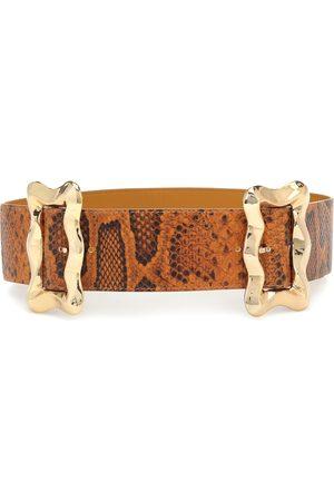 REJINA PYO Luna python-effect leather belt