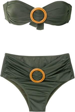Brigitte Buckled bandeau bikini set