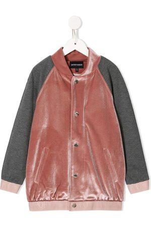 Emporio Armani Crushed-velvet bomber jacket