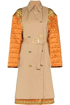VERSACE Quilted Sleeve baroque trench coat