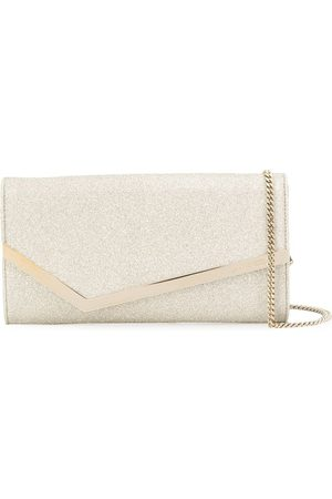 Jimmy choo Platinum ice silver and gold-tone Emmie clutch