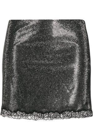 Serafini Rhinestone-embellished lace-hem skirt