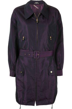 CHANEL Silk iridescent belted lightweight coat