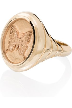 Retrouvai 14kt yellow Grandfather butterfly signet ring