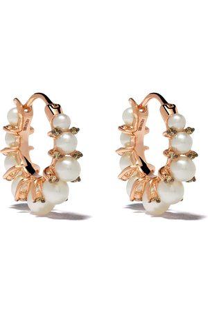 ANNOUSHKA 18kt rose gold diamond pearl hoops