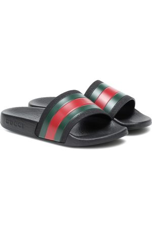 Gucci Web stripe rubber slides