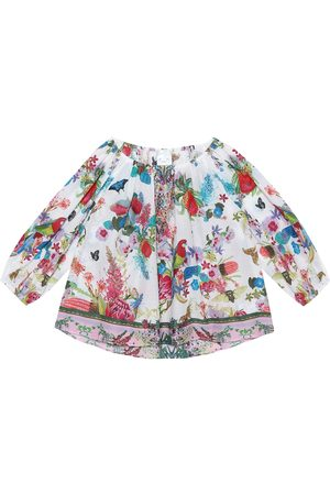 Camilla Embellished printed cotton blouse