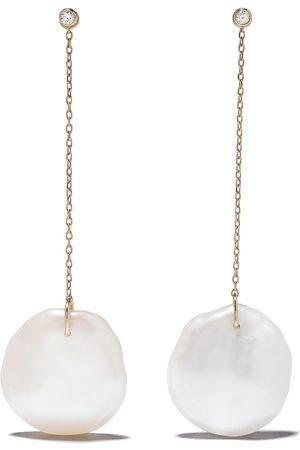 Mizuki 14kt diamond pearl drop earrings