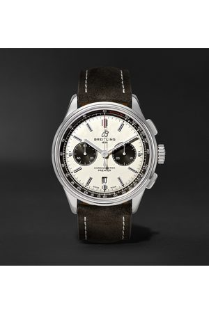 Breitling Men Watches - Premier B01 Chronograph 42mm Stainless Steel And Nubuck Watch, Ref. No. Ab0118221g1x1