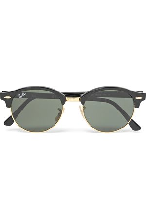 Ray-Ban Men Sunglasses - Clubmaster Round-Frame Acetate and Gold-Tone Polarised Sunglasses