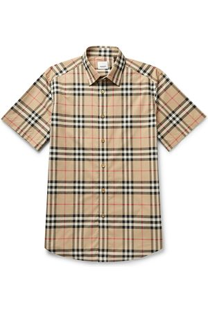 Burberry Men Short sleeves - Checked Cotton-Poplin Shirt