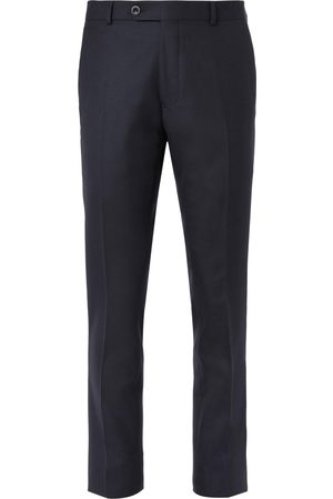 Mr P. Slim-fit Black Worsted Wool Trousers