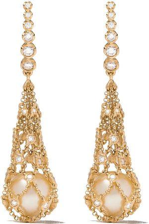 ANNOUSHKA 18kt yellow gold Lattice Net pearl and diamond earrings