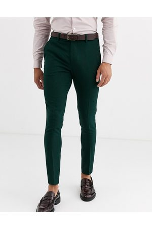 ASOS Wedding super skinny suit trousers in forest micro texture