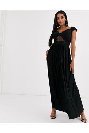 ASOS Fuller Bust premium lace and pleat bardot maxi dress