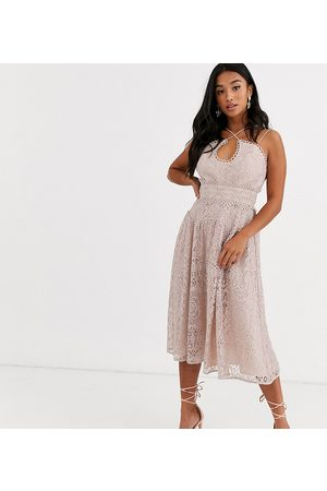 ASOS ASOS DESIGN Petite cami strap midi prom dress in lace with circle trims