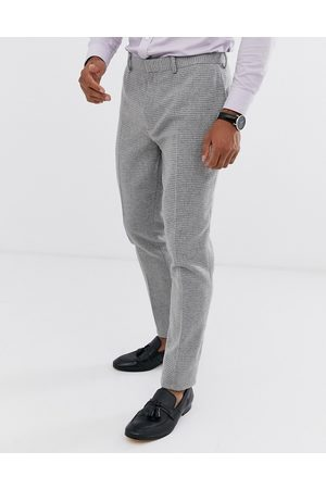 ASOS Wedding super skinny suit trousers in micro houndstooth