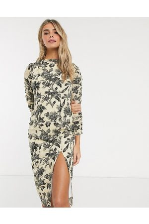 HOPE & IVY Pencil dress in wallpaper floral