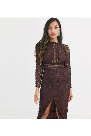 ASOS ASOS DESIGN Petite long sleeve pencil dress in lace with geo lace trims