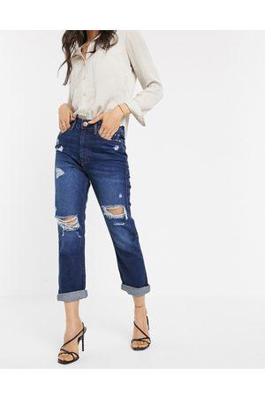 River Island Distressed mom jeans in dark wash