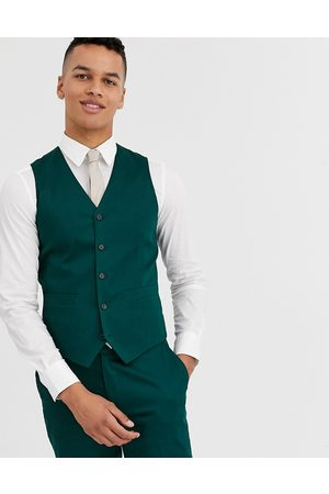 ASOS Wedding skinny suit waistcoat in cotton in forest