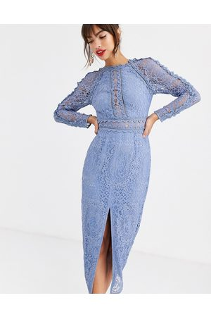 ASOS Long sleeve pencil dress in lace with geo lace trims