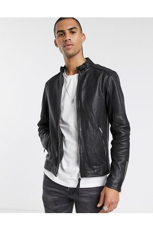 AllSaints Cora slim fit zip through leather jacket in