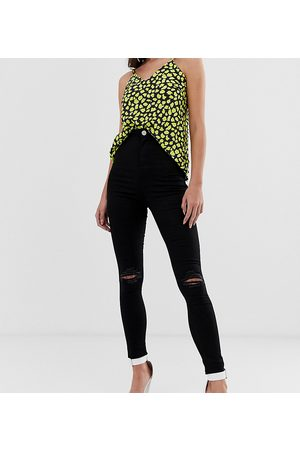 ASOS ASOS DESIGN Tall Rivington high waisted jeggings with frayed knee rip detail