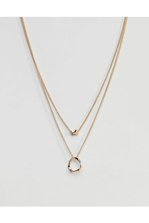 ASOS Twisted Nugget Bead And Hoop Multirow Necklace