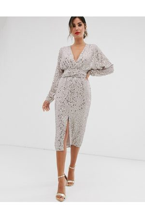 ASOS Midi dress with batwing sleeve and wrap waist in scatter sequin