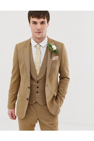 ASOS Wedding skinny suit jacket in camel twill