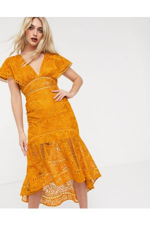 ASOS Flutter sleeve midi dress in corded lace with circle trim detail