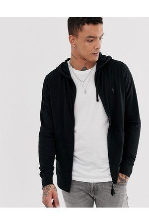 AllSaints Brace zip through hoodie with ramskull in