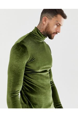 ASOS Muscle long sleeve t-shirt with stretch in velour with roll neck in khaki
