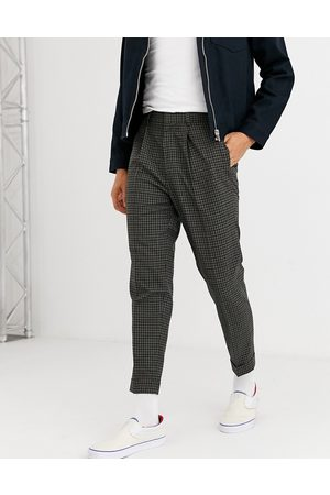 ASOS Tapered smart trousers in khaki check