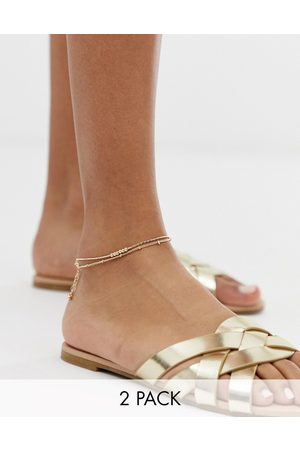 ASOS Pack of 2 fine ball charm anklets in tone
