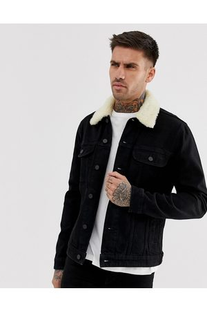 ASOS Denim jacket with detachable borg collar in